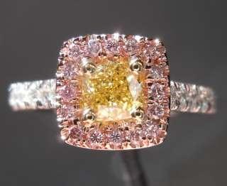 54ct Cushion Cut Fancy Intense Yellow VS1 GIA Pink Halo Ring R3794