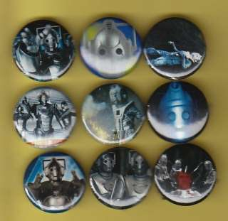 Cybermen Set of 9 Buttons pins Badges Dr Who Villains
