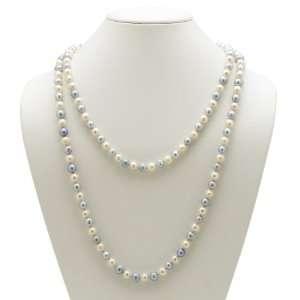 PalmBeach Jewelry Aquamarine Blue and White Cultured Freshwater Pearl