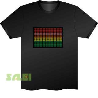 Black Music Sound Activated EL Equalizer DJ Disc LED T Shirt Colorful