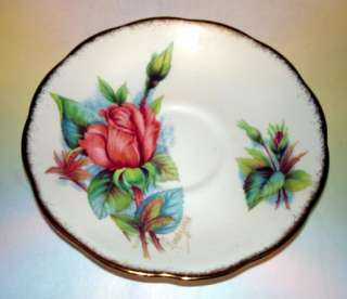 Signed Roslyn China Wheatcroft Roses #1 Tea Cup and Saucer Set
