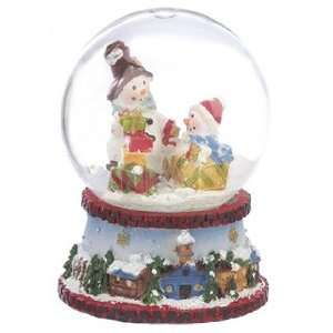 Personalized Mini Snowman Snow Globe   Red Christmas