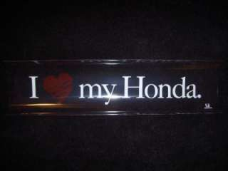 Love My Honda w/red heart window decal