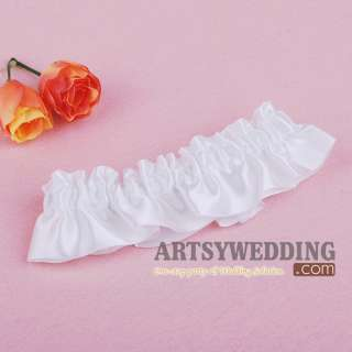 Promotion White Stretch Satin Toss Party Wedding Bridal Garter