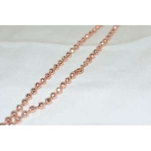 14k Rose Gold Plated Bead Chain Necklace 5mm   16