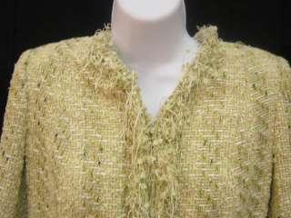 RANDI RAHN Green Tweed Blazer Jacket Shirt Top Set Sz M