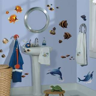 24 New TROPICAL FISH WALL DECALS Dolphins Stickers Beach Home Ocean