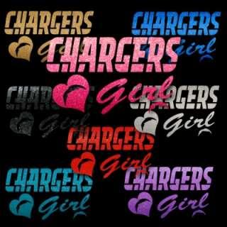 San Diego Chargers Girl w/heart logo Pink Metallic Auto Car Window