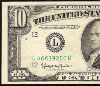 10 DOLLAR BILL FEDERAL RESERVE NOTE ONLY 3 DISTRICTS PRINT Fr 2015 L