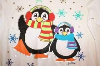 Justice Christmas Top T Shirt Reindeer Monkey Puppy Penguin Sz 6 18