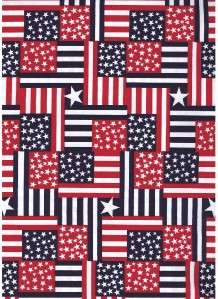 RED WHITE BLUE STAR STRIPE PATCH~ Cotton Quilt Fabric