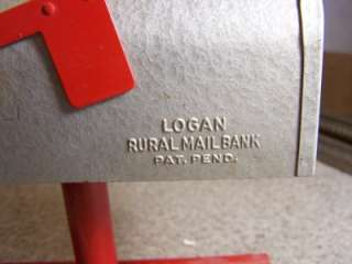 ANTIQUE Metal Toy size Table Top U.S. Mail Box Bank Logan Rural Mail