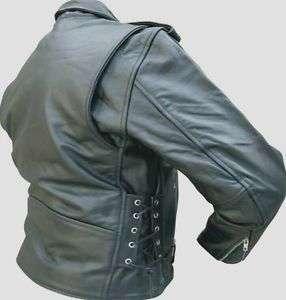 Mens REBEL BIKER Black SPLIT COWHIDE Leather MOTORCYCLE Jacket SIDE