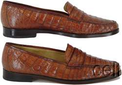 COLE HAAN GENUINE CROCODILE LEATHER LOAFERS SHOES MENS 13 COGNAC BROWN