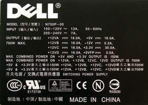 NEW Dell XPS 700 710 720 750w Power Supply PSU NG153 MG309 DR552