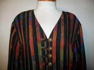 August Max Woman blouse shirt stripes rayon size 16W/36 New