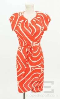 DVF Diane Von Furstenberg Orange Red & Cream Silk Print Wrap Dress
