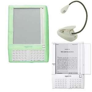 , Premium Bundle Green Silicone Skin Case Cover, White eBook Reader