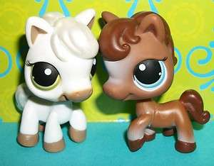 HORSE/PONY LOT~#337 BROWN/#338 WHITE~Littlest Pet Shop L14