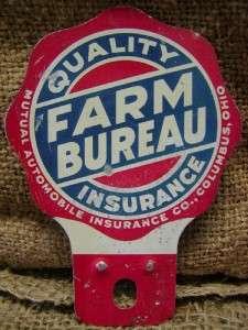 Vintage Farm Bureau Insurance Plate Sign Antique Tag