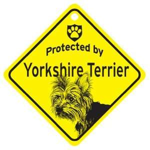 Puppy Cut Yorkie Protected By Dog Sign and caution Gift