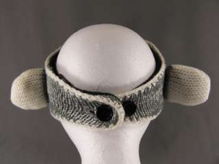 Grey White Monkey animal face knit ear warmer muff head wrap hat