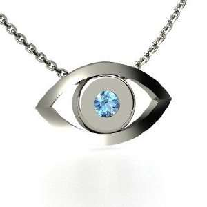 Evil Eye Pendant, Round Blue Topaz 14K White Gold Necklace Jewelry
