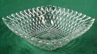 Vintage Pressed Glass Square Candy Dish Diamond Pattern
