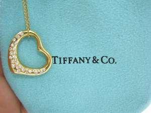 Tiffany & Co Elsa Peretti Diamond Open Heart Pendant