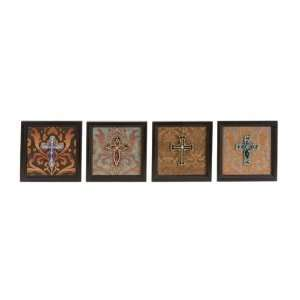 Set of Four Beautiful Wood Metal Cross Wall Decor
