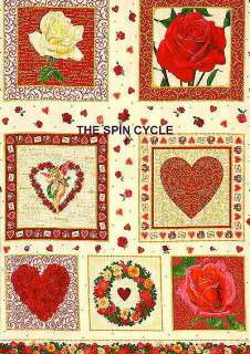 FABRIC VALENTINES Endless Love ROSES HEARTS BLOCKS 23
