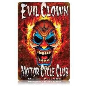 Evil Clown Vintage Metal Sign Motorcycle Club: Home