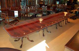 Large 18 ft Burl Mahogany Chippendale Dining Table
