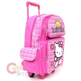 Kitty Large School Roler Bag Rolling Backpack Pink Teddy Bear 3