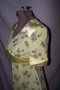 70s Hippie Empire Waist Yellow Maxi Dress Sz 9