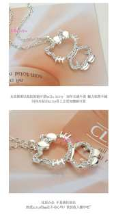 SILVER HOLLOW KITTY LARGE White CRYSTAL Bowknot PENDANT NECKLACE N241