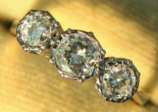 ANTIQUE ART DECO PLATINUM 0.75CT DIAMOND TRILOGY 18CT GOLD RING