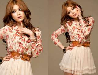 Korean Fashion Womens Chiffon Floral Tunic Tulle Belted Summer Party