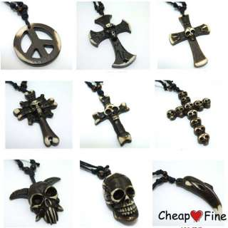 Fashion Tibet Man Made Yak bone Skull Cross Necklace X1