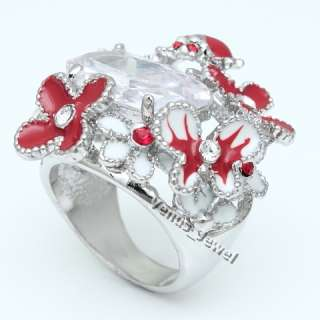 Flower Ladybug Butterfly CZ Fashion Cocktail Ring SZ 7