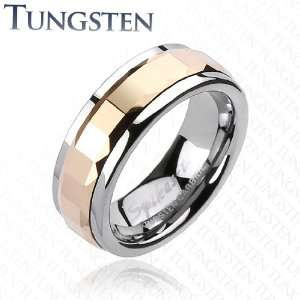 Tungsten Carbide Rose Gold IP Multi Faceted Square Cut Spinner Ring