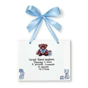 Birth Certificate Hand Painted Tile   Boy Teddy Bear Toys