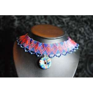 Red and Blue Peyote Stitch Choker: Everything Else