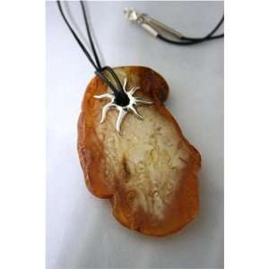 Extra Large Sterling Silver & Natural Baltic Amber Necklace 29,80