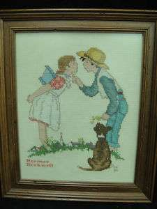 Norman Rockwell Finished Needlepoint Picture Boy & Girl