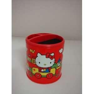 Sanrio Red Hello Kitty Pen Case Brush Pot Holder Can