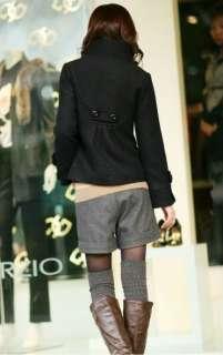 New Womens Korean Fashion Fit Slim Woolen Collar Jacket Coat 4 Colors