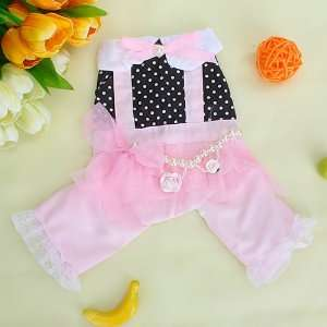 Pink and Black Pet Dog Jumpersuit Clothes Apparel w/ Beads