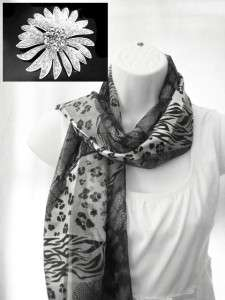NEW ANIMAL PRINT SCARF AND FLOWER PIN SET LEOPARD GRAY