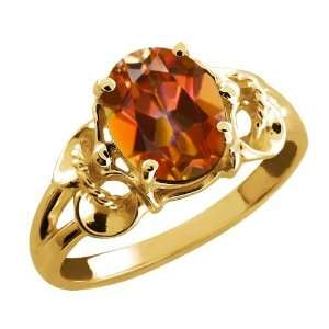 2.30 Ct Oval Ecstasy Mystic Topaz 14k Yellow Gold Ring
